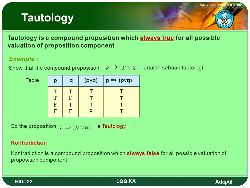 Tautology Tautology is a compound proposition which always true for all possible valuation of proposition component.