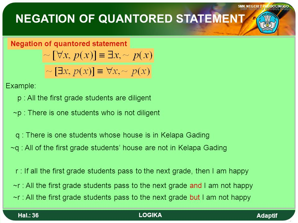 NEGATION OF QUANTORED STATEMENT
