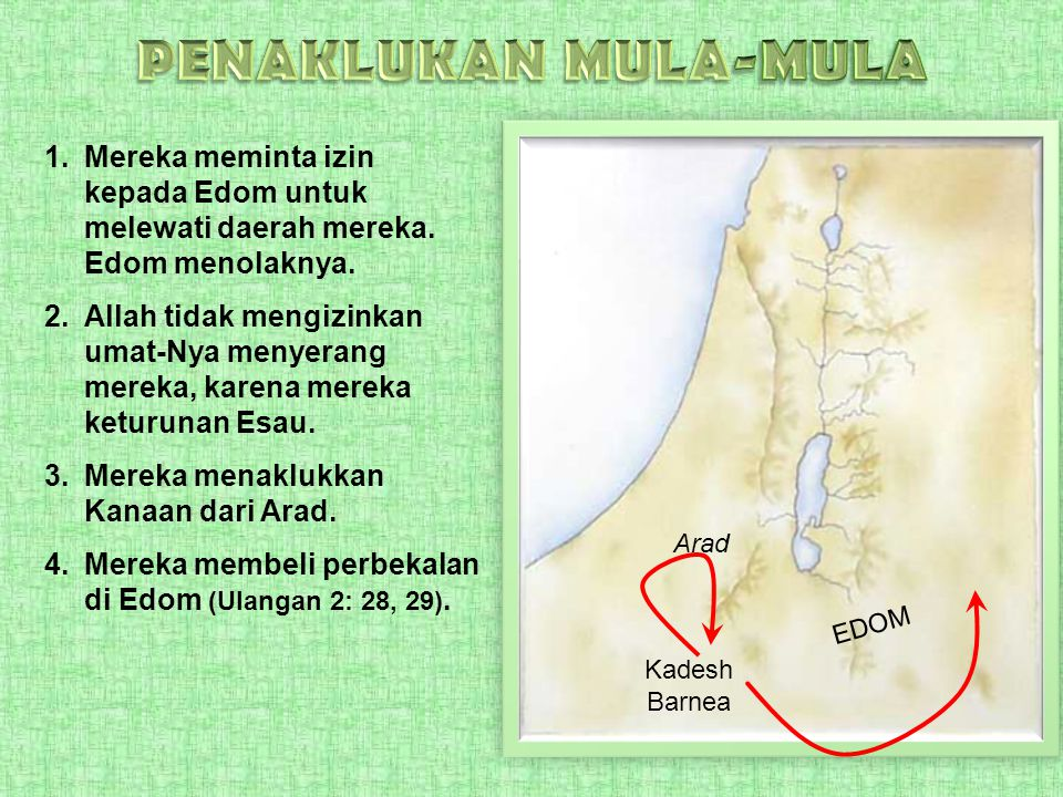 PENAKLUKAN MULA-MULA Mereka meminta izin kepada Edom untuk melewati daerah mereka. Edom menolaknya.