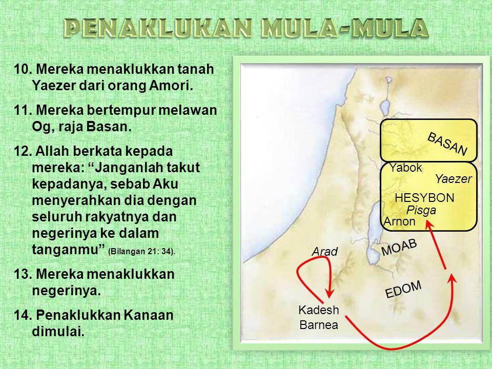 PENAKLUKAN MULA-MULA Mereka menaklukkan tanah Yaezer dari orang Amori.