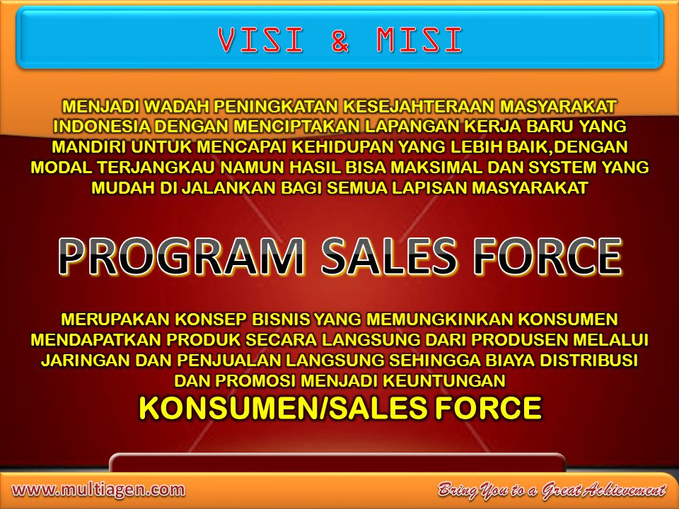 PROGRAM SALES FORCE VISI & MISI KONSUMEN/SALES FORCE