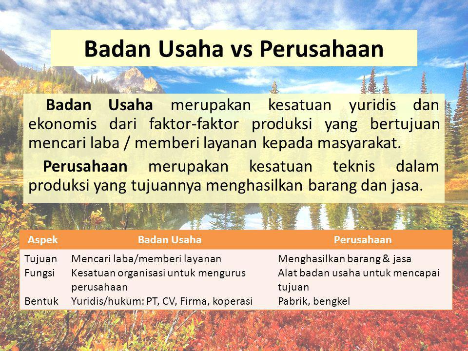 Badan Usaha vs Perusahaan