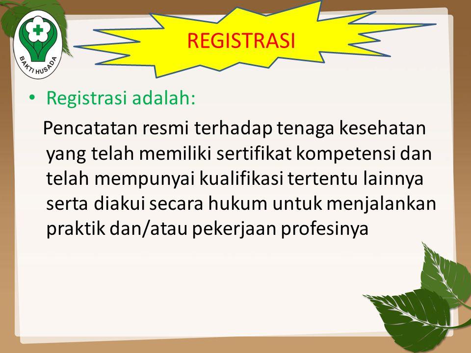REGISTRASI Registrasi adalah: