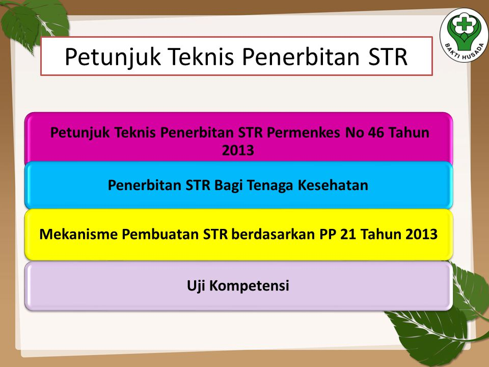Petunjuk Teknis Penerbitan STR