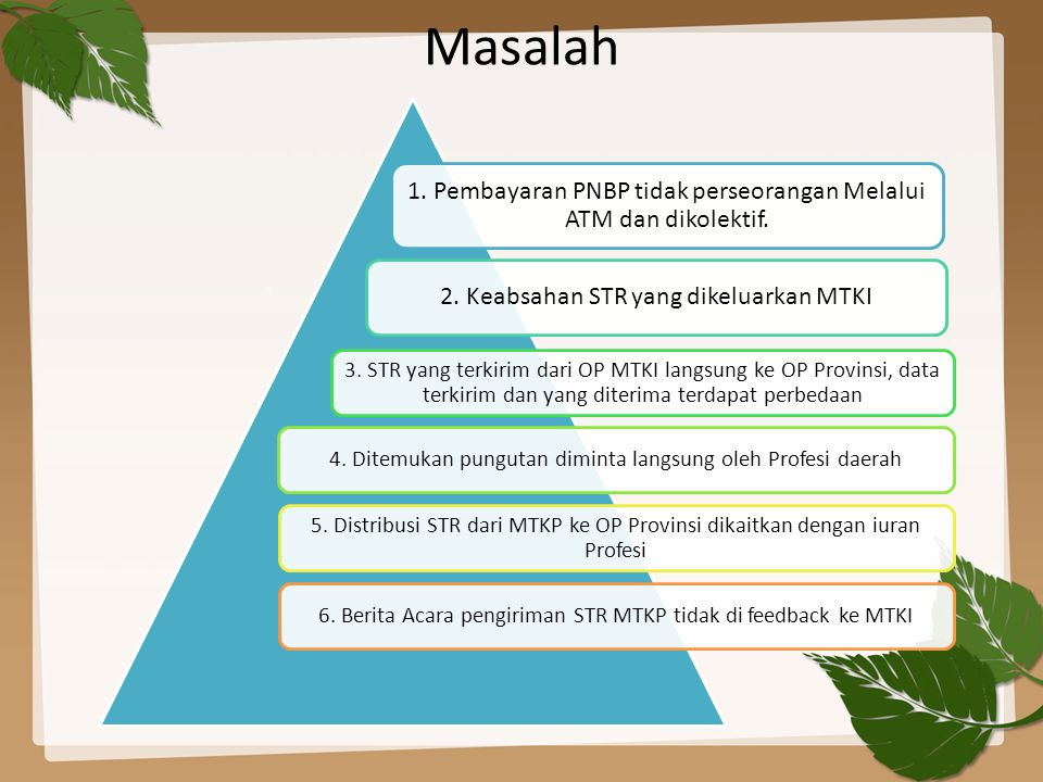 Masalah 1. Pembayaran PNBP tidak perseorangan Melalui ATM dan dikolektif. 2. Keabsahan STR yang dikeluarkan MTKI.