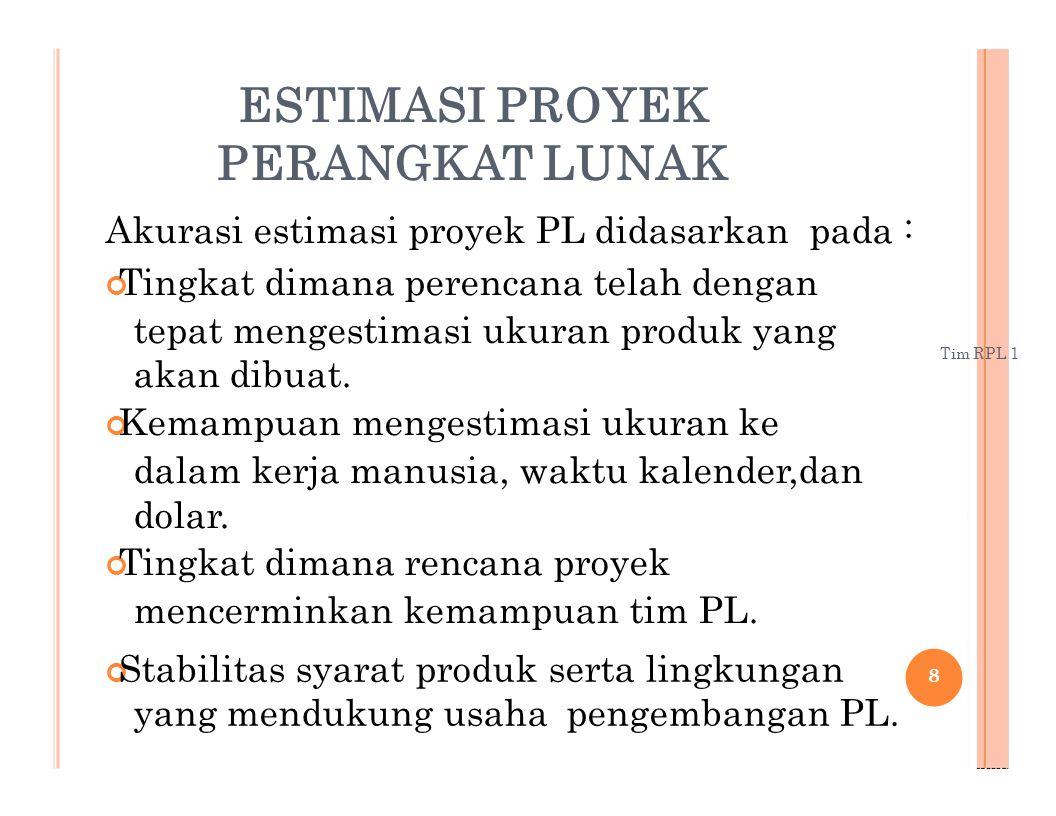 Akurasi estimasi proyek PL didasarkan pada :