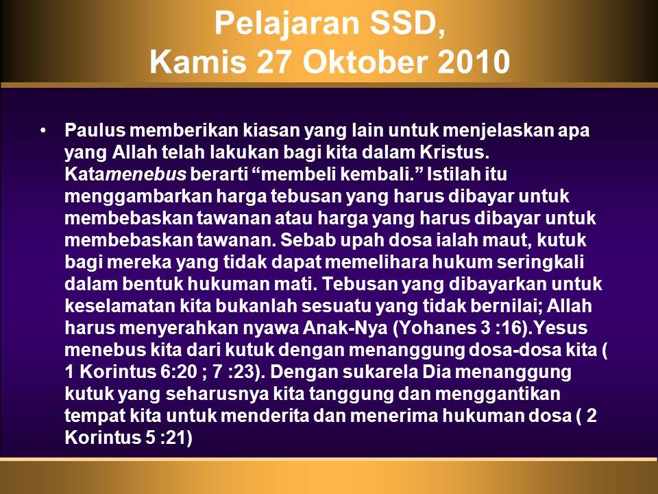 Pelajaran SSD, Kamis 27 Oktober 2010