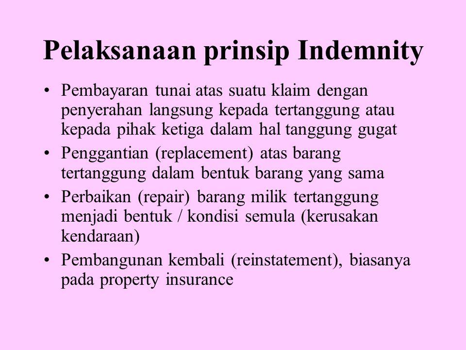 Pelaksanaan prinsip Indemnity