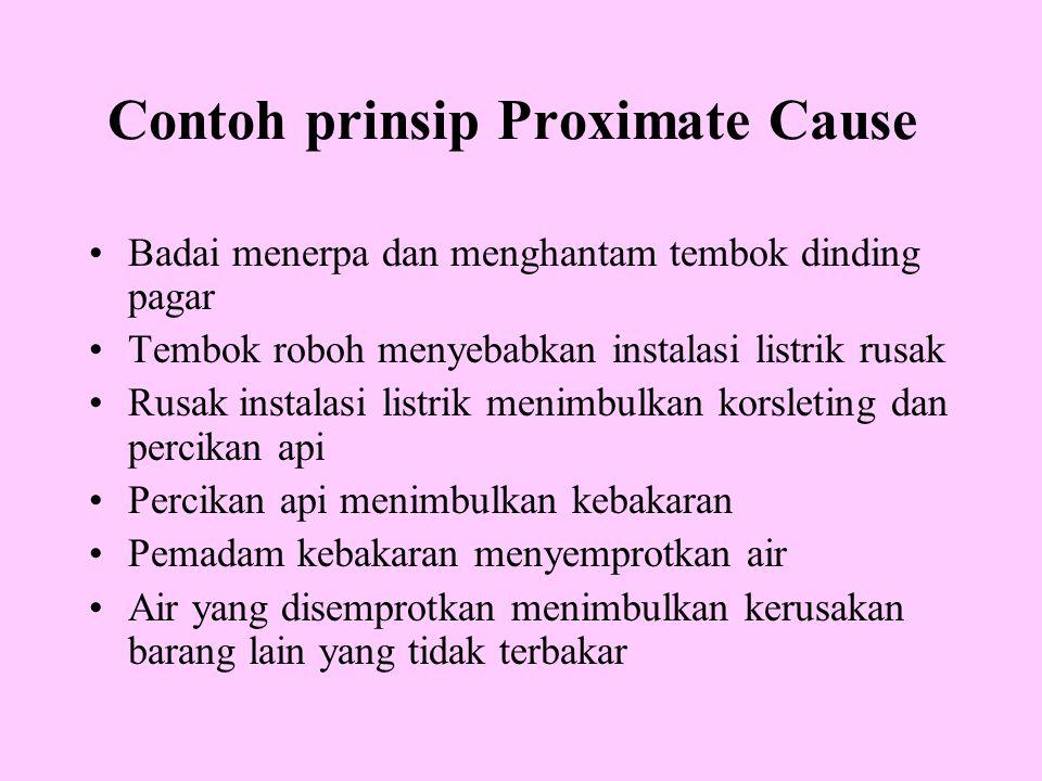 Contoh prinsip Proximate Cause