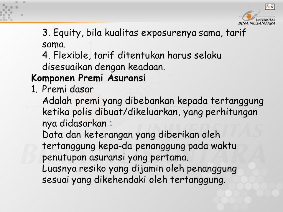 3. Equity, bila kualitas exposurenya sama, tarif. sama. 4