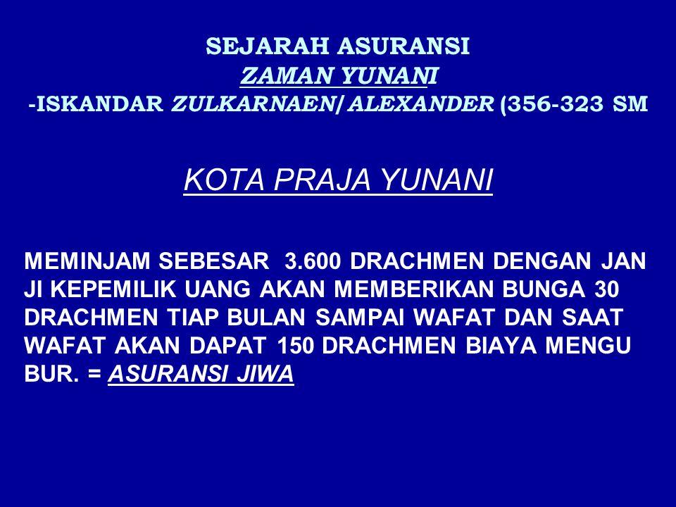 SEJARAH ASURANSI ZAMAN YUNANI -ISKANDAR ZULKARNAEN/ALEXANDER (356-323 SM