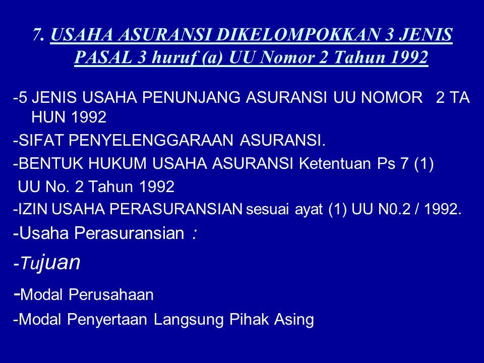 7. USAHA ASURANSI DIKELOMPOKKAN 3 JENIS PASAL 3 huruf (a) UU Nomor 2 Tahun 1992