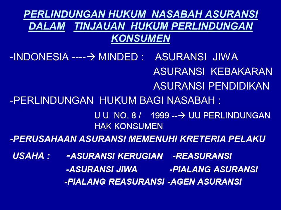 -INDONESIA ---- MINDED : ASURANSI JIWA ASURANSI KEBAKARAN