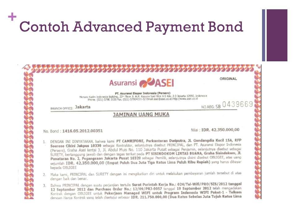 Contoh Advanced Payment Bond