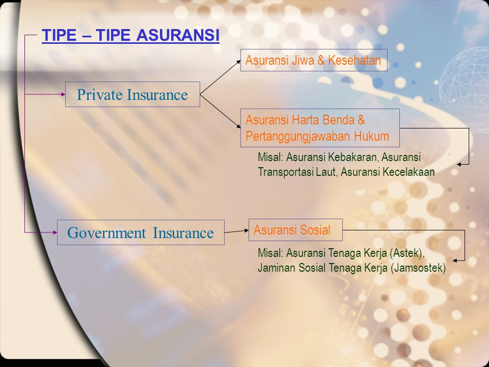 TIPE – TIPE ASURANSI Private Insurance Government Insurance