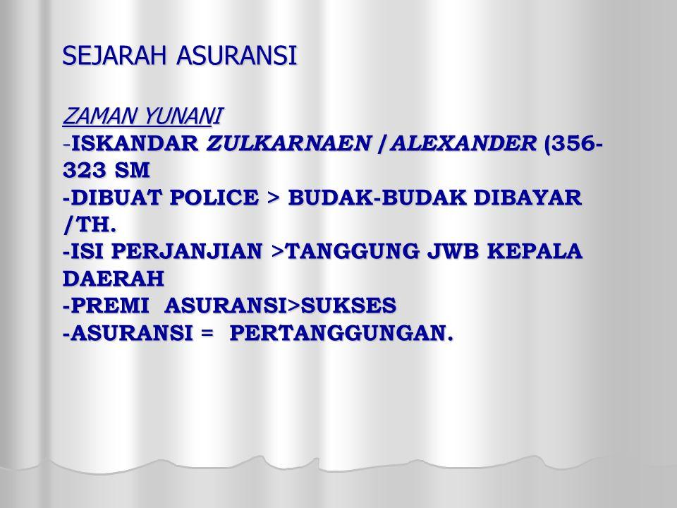 SEJARAH ASURANSI ZAMAN YUNANI -ISKANDAR ZULKARNAEN /ALEXANDER (356-323 SM -DIBUAT POLICE > BUDAK-BUDAK DIBAYAR /TH.