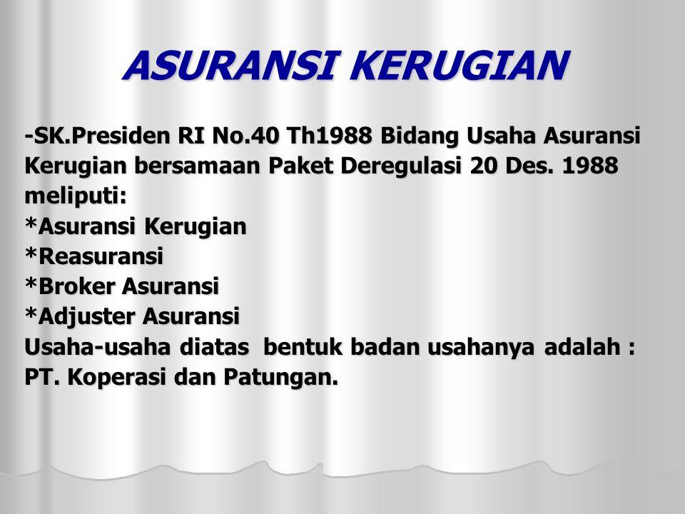 ASURANSI KERUGIAN -SK.Presiden RI No.40 Th1988 Bidang Usaha Asuransi