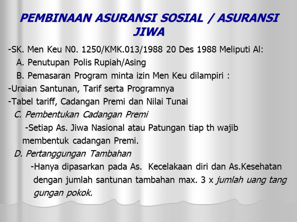 PEMBINAAN ASURANSI SOSIAL / ASURANSI JIWA