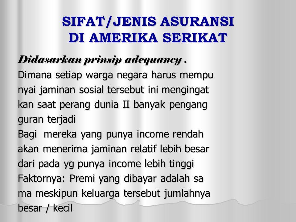 SIFAT/JENIS ASURANSI DI AMERIKA SERIKAT