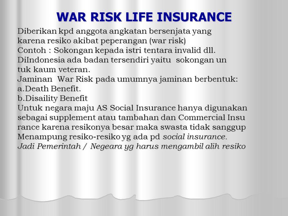 WAR RISK LIFE INSURANCE