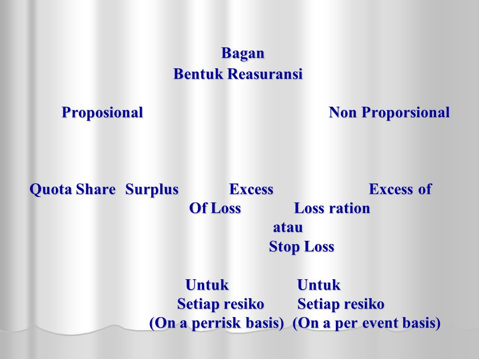 Bagan. Bentuk Reasuransi Proposional. Non Proporsional. Quota Share