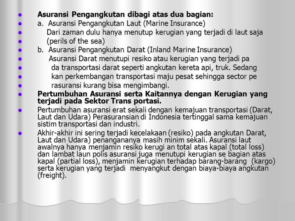 Asuransi Pengangkutan dibagi atas dua bagian: