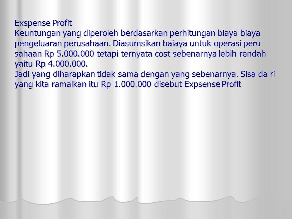 Exspense Profit Keuntungan yang diperoleh berdasarkan perhitungan biaya biaya pengeluaran perusahaan.