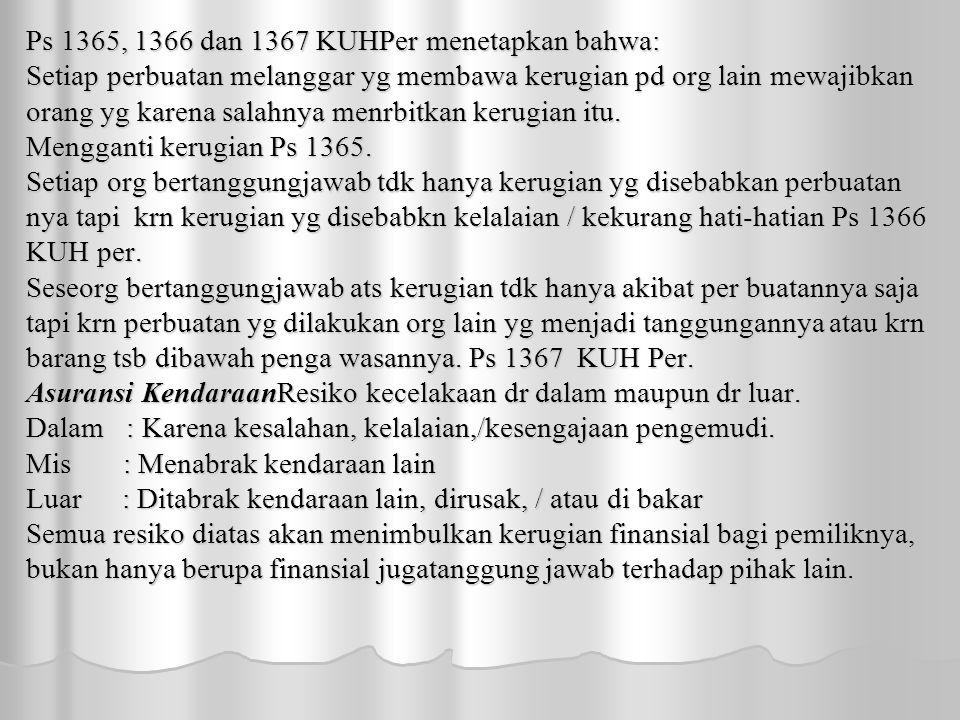 Ps 1365, 1366 dan 1367 KUHPer menetapkan bahwa: