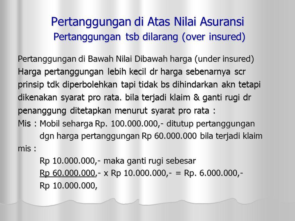 Pertanggungan di Atas Nilai Asuransi Pertanggungan tsb dilarang (over insured)
