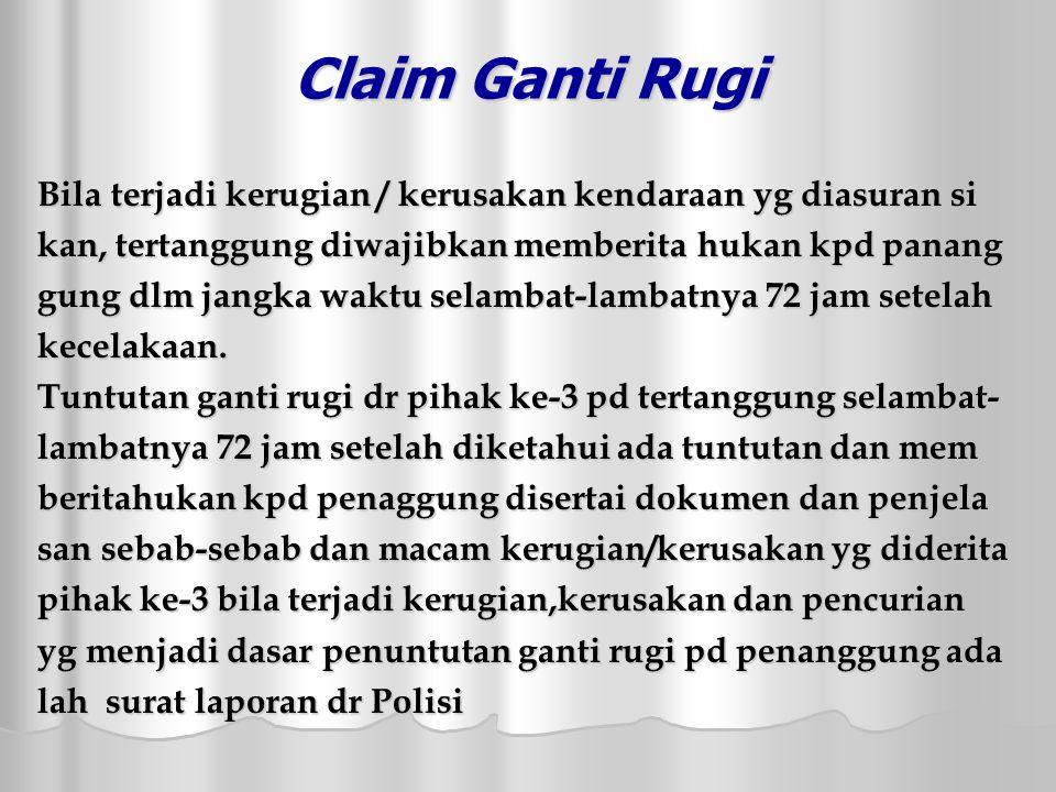 Claim Ganti Rugi Bila terjadi kerugian / kerusakan kendaraan yg diasuran si. kan, tertanggung diwajibkan memberita hukan kpd panang.