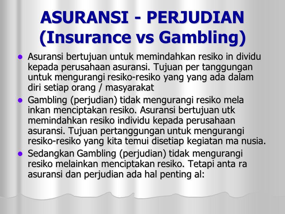 ASURANSI - PERJUDIAN (Insurance vs Gambling)