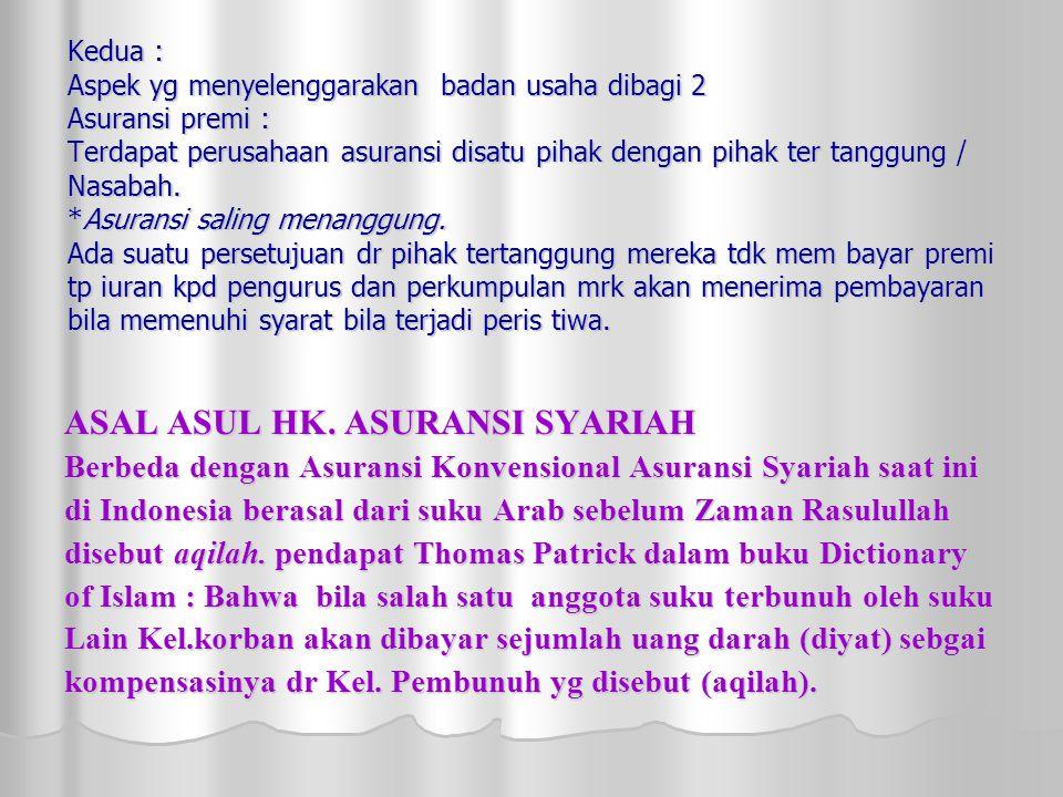 ASAL ASUL HK. ASURANSI SYARIAH