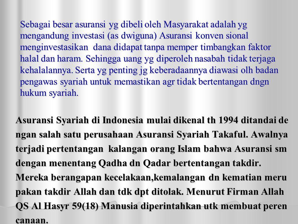 Asuransi Syariah di Indonesia mulai dikenal th 1994 ditandai de