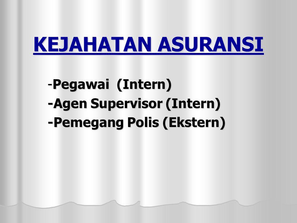 -Pegawai (Intern) -Agen Supervisor (Intern) -Pemegang Polis (Ekstern)