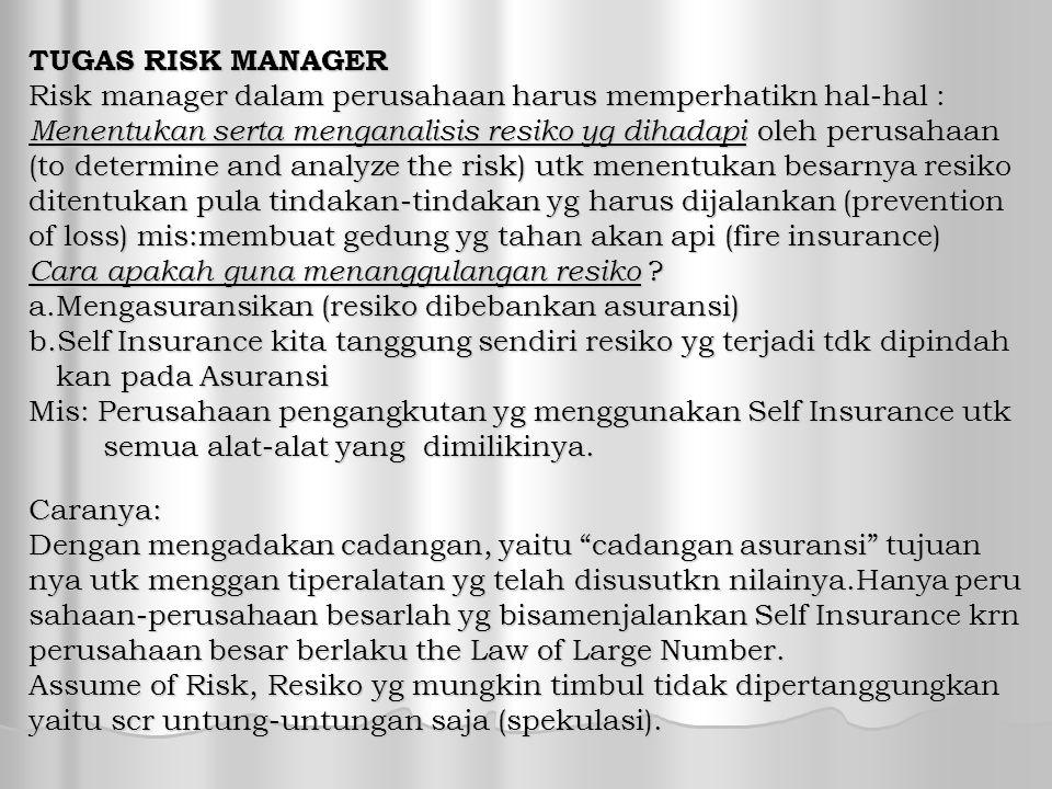 TUGAS RISK MANAGER Risk manager dalam perusahaan harus memperhatikn hal-hal : Menentukan serta menganalisis resiko yg dihadapi oleh perusahaan.