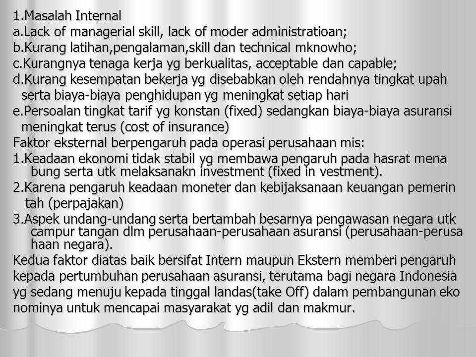 1.Masalah Internal a.Lack of managerial skill, lack of moder administratioan; b.Kurang latihan,pengalaman,skill dan technical mknowho;