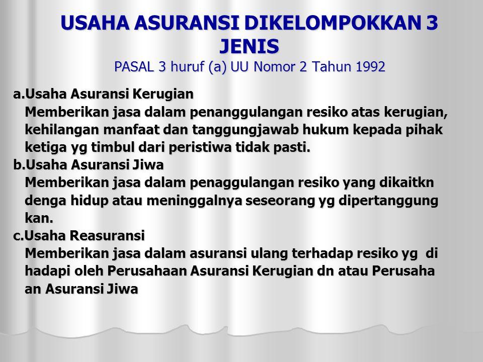 USAHA ASURANSI DIKELOMPOKKAN 3 JENIS PASAL 3 huruf (a) UU Nomor 2 Tahun 1992
