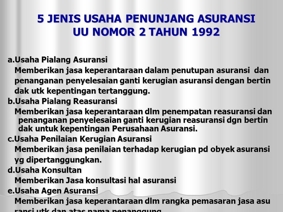 5 JENIS USAHA PENUNJANG ASURANSI UU NOMOR 2 TAHUN 1992