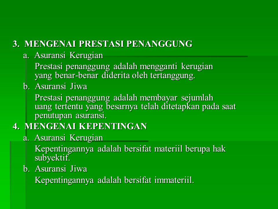 3. MENGENAI PRESTASI PENANGGUNG