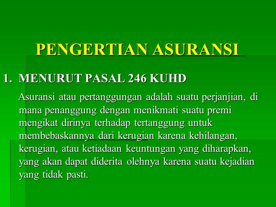PENGERTIAN ASURANSI 1. MENURUT PASAL 246 KUHD