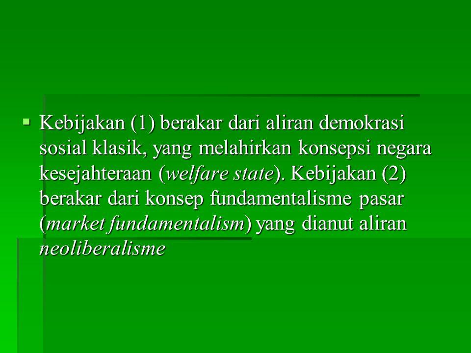 Kebijakan (1) berakar dari aliran demokrasi sosial klasik, yang melahirkan konsepsi negara kesejahteraan (welfare state).