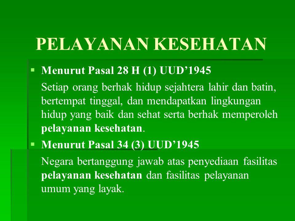 PELAYANAN KESEHATAN Menurut Pasal 28 H (1) UUD'1945