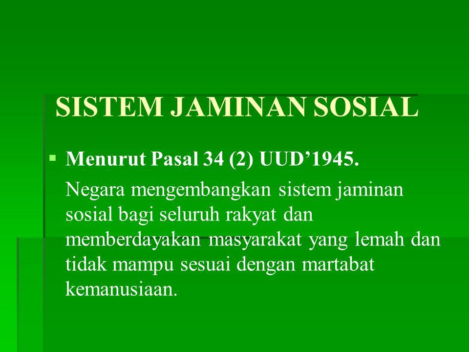 SISTEM JAMINAN SOSIAL Menurut Pasal 34 (2) UUD'1945.