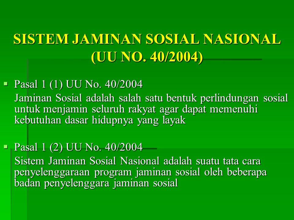 SISTEM JAMINAN SOSIAL NASIONAL (UU NO. 40/2004)