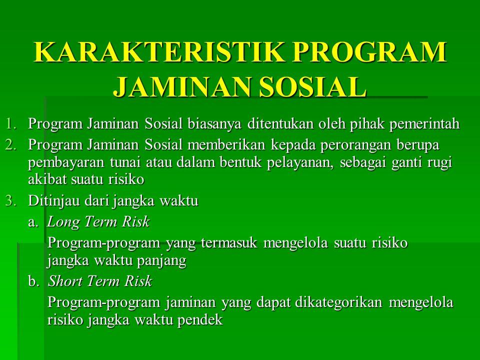 KARAKTERISTIK PROGRAM JAMINAN SOSIAL
