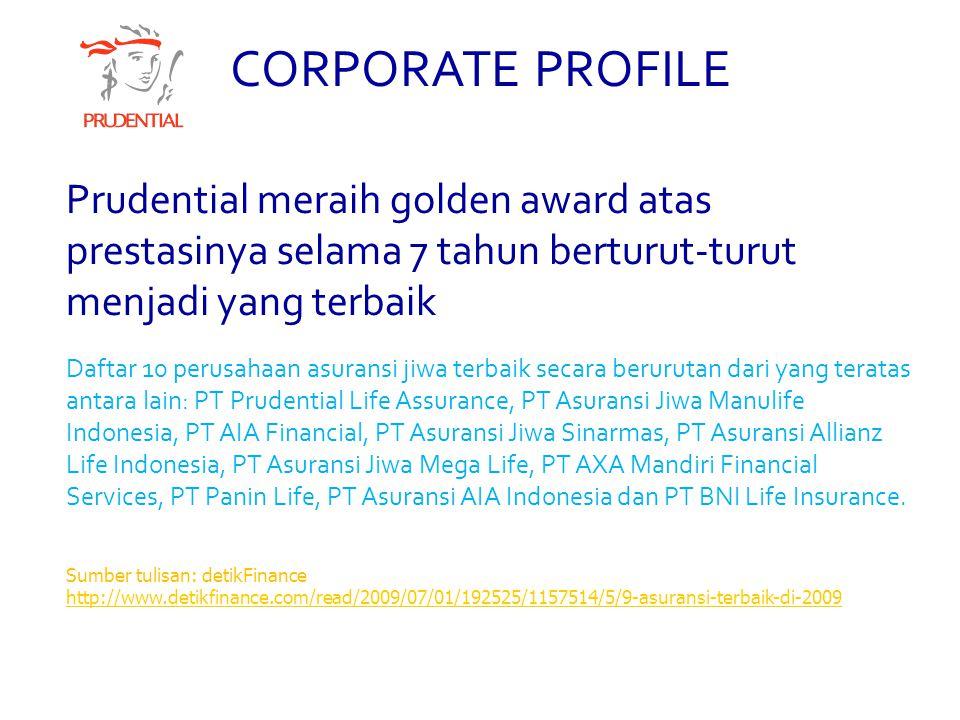 CORPORATE PROFILE Prudential meraih golden award atas prestasinya selama 7 tahun berturut-turut menjadi yang terbaik.