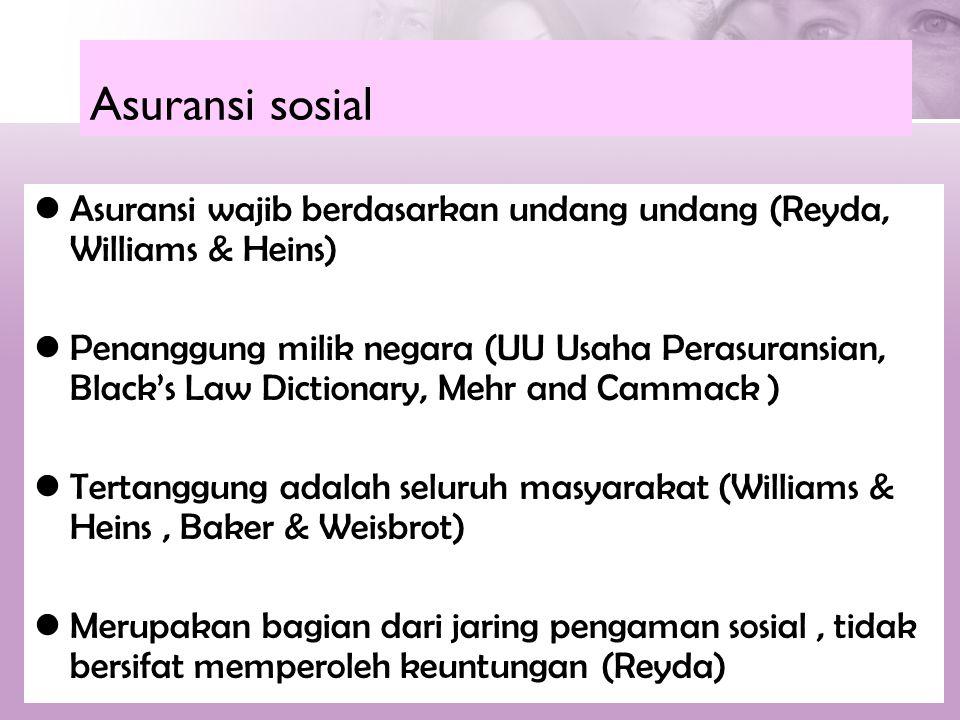 Asuransi sosial Asuransi wajib berdasarkan undang undang (Reyda, Williams & Heins)
