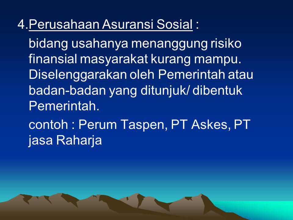 4. Perusahaan Asuransi Sosial :