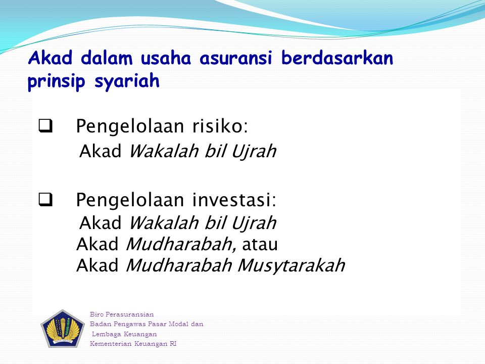 Akad dalam usaha asuransi berdasarkan prinsip syariah