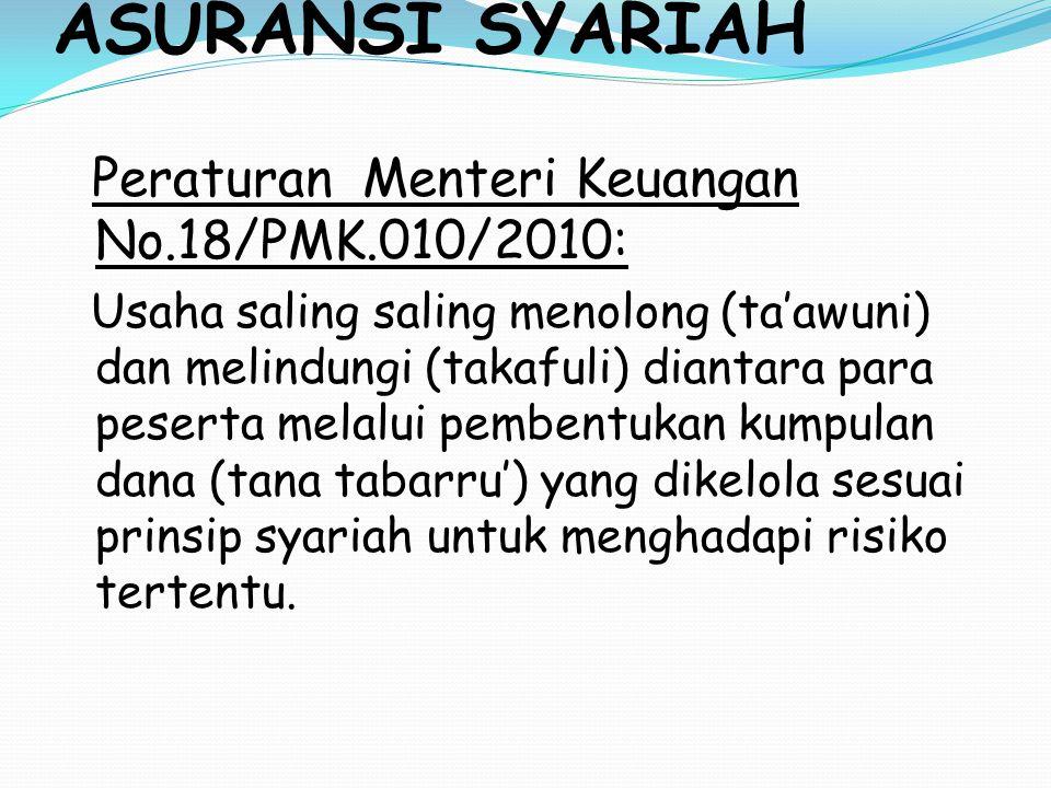 ASURANSI SYARIAH Peraturan Menteri Keuangan No.18/PMK.010/2010: